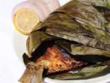 Recipe Karimeen vazhayilayil pollichathu/pearlspot dry fried on banana leaf
