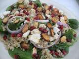 Recipe Quinoa spinach salad with feta, pomegranate and toasted almonds